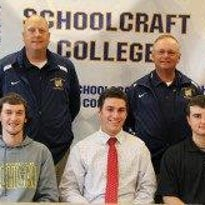 Schoolcraft's first baseball recruiting class is taking shape. In the bottom row, from left, are Nicholas Montroy (Garden City), Christian Werner and Matthew Buhagiar. Top row (from left) are Ocelots head coach Rob Fay and assistant coach George Kontos.