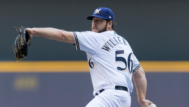 Brewers starter Aaron Wilkerson was saddled with the loss on Saturday against the Braves despite allowing just two runs in the first inning.