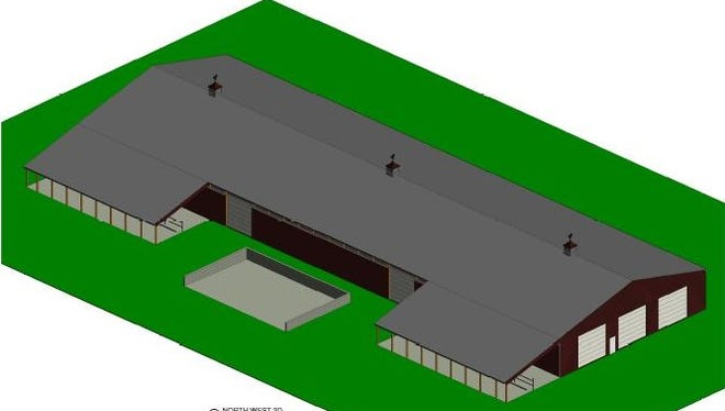 Rendering of a new Dairy Cattle Barn coming to the Manitowoc County Expo grounds in August 2018.