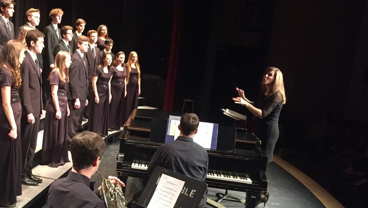 Students from Colchester High School perform Saturday night in Hinesburg under the direction of their instructor, Melissa Towle. The concert was preceded by a town meeting at Champlain Valley Union High School, hosted by Sen. Bernie Sanders, I-Vt.