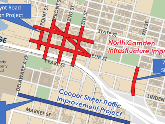 Map shows areas of planned road improvements in downtown Camden, North Camden.