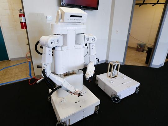 The TR1, a 5-foot-tall robot designed and manufactured by local startup Slate Robotics.
