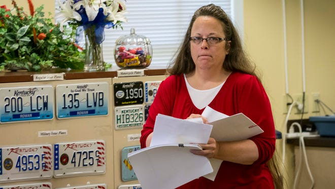 Rowan County Clerk Kim Davis was back to work in her office Monday morning at the Rowan County Courthouse in Morehead.