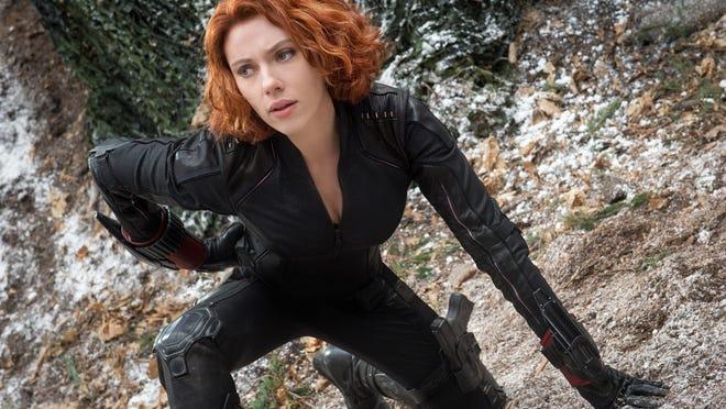 "Scarlett Johansson stars as Black Widow/Natasha Romanoff in the action film ""Avengers: Age Of Ultron."""