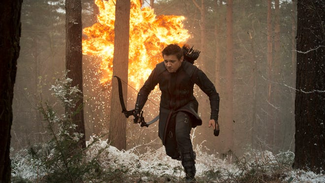 "This photo provided by Disney/Marvel shows, Jeremy Renner as Hawkeye/Clint Barton, in the new film, ""Avengers: Age Of Ultron."" The movie releases in U.S. theaters on May 1, 2015. (Jay Maidment/Disney/Marvel via AP)"