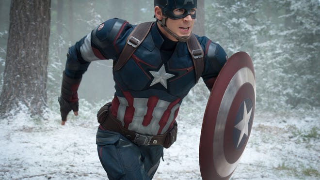 "This photo provided by Disney/Marvel shows, Chris Evans as Captain America/Steve Rogers, in the new film, ""Avengers: Age Of Ultron."" The movie releases in U.S. theaters on May 1, 2015."