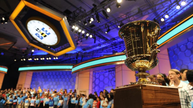 05/27/2015 5:59:58 PM -- National Harbor, MD, U.S.A -- The championship trophy of the 2015 Scripps National Spelling Bee in National Harbor, Md. on Wednesday, May 27, 2015. -- Photo by Evan Eile, USA TODAY Staff