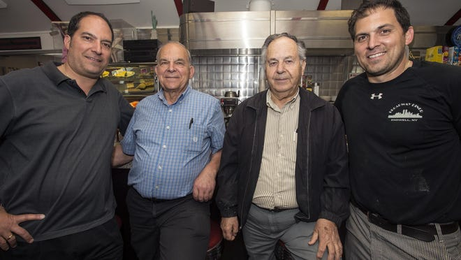 From left, Leon Anastos, Steve Anastos, George Koutsaris and Jimmy Anastos, gather inside the Broadway Diner in Endwell. They are longtime participants in the Greek Orthodox Church of the Annunciation in Vestal.