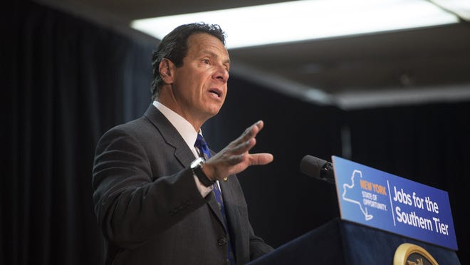 Governor Andrew Cuomo makes an announcement near Binghamton in August 2015.