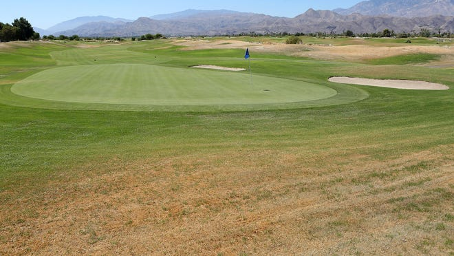 Grass is allowed to go brown on some parts of the golf course at Desert Princess Country Club in Cathedral City, as seen on Aug. 4, 2015.