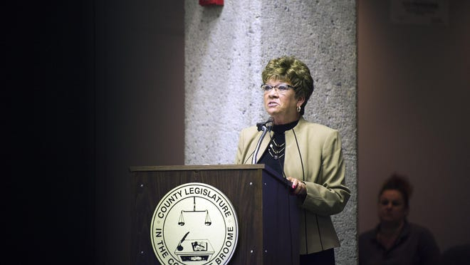 Broome County Executive Debbie Preston delivers her annual budget address on Thursday in the Legislative Chambers of the Broome County Office Building.
