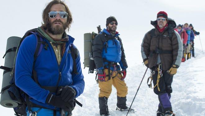 "Jake Gyllenhaal, from left, Michael Kelly and Josh Brolin star in ""Everest."""
