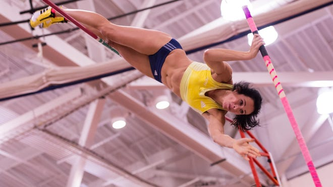 Jenn Suhr makes a third and final unsuccessful attempt at an indoor pole vaulting world record during the Upstate New York Holiday Classic at RIT on Dec. 27.