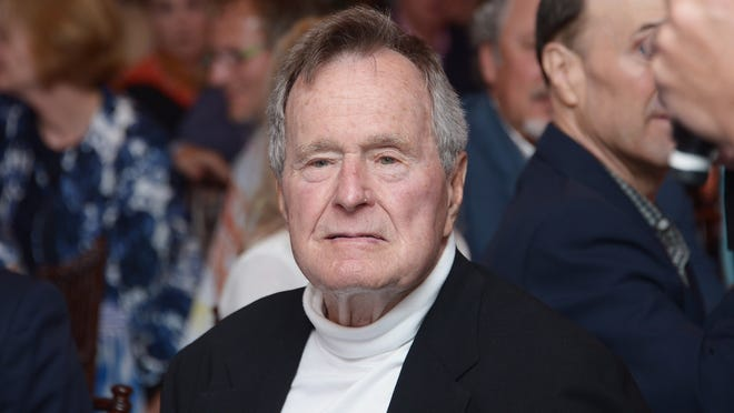 """KENNEBUNKPORT, ME - JUNE 12:  Film Subject President George H.W. Bush celebrates his 88th  birthday following the HBO Documentary special screening of """"41"""" on June 12, 2012 in Kennebunkport, Maine.  (Photo by Michael Loccisano/Getty Images for HBO)"""