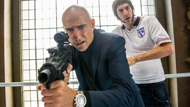 """Sacha Baron Cohen, right, and Mark Strong are brothers reunited in """"The Brothers Grimsby."""""""