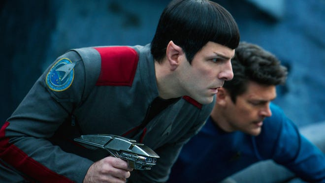 """In this image released by Paramount Pictures, Zachary Quinto, left, and Karl Urban appear in a scene from """"Star Trek Beyond."""""""