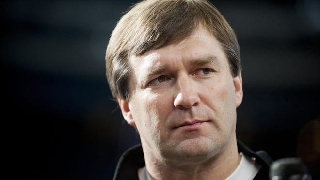 Georgia head coach Kirby Smart at Media Day for the Cotton Bowl on Tuesday December 29, 2015 at AT&T Stadium in Arlington, Texas. During that game, Smart was the Alabama defensive coordinator.