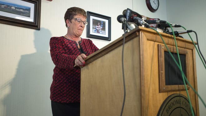 Broome County Executive Debbie Preston announced that she made purchases with a Town of Conklin credit card during an emotional news conference Oct. 11, 2016.
