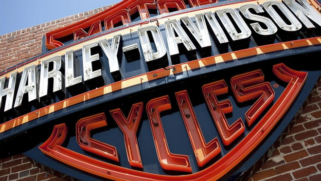 FILE - This Monday, July 16, 2012, file photo, shows a sign for Harley-Davidson Motorcycles at a Harley-Davidson store in Glendale, Calif. Harley-Davidson is expected to report financial results Tuesday, Oct. 18, 2016. (AP Photo/Grant Hindsley, File)