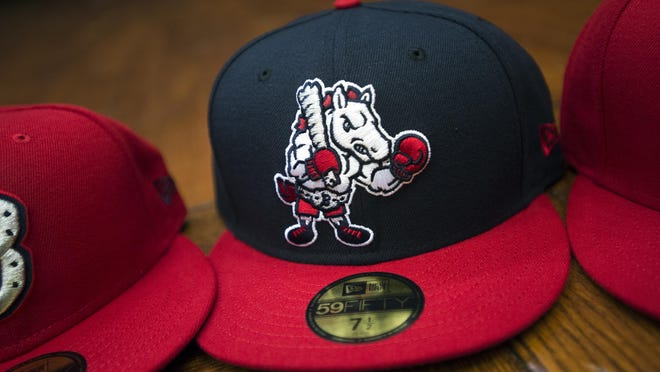 "The ""Rumble Ponies Boxer"" logo on a Binghamton Rumble Ponies hat."
