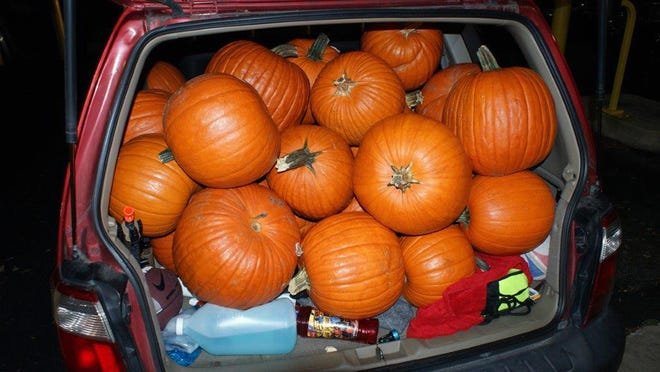 """This Oct. 18, 2017 photo released by the Maryland Heights Police Department shows a pumpkin-crammed SUV in Maryland Heights, Mo. Police caught three teenagers with 48 stolen pumpkins and are asking residents of the St. Louis suburb to view a """"pumpkin lineup"""" online to see if their Halloween squash are among those recovered. (Maryland Heights Police Department via AP)"""