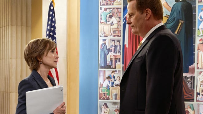 "This image provided by Showtime shows Holly Hunter, left, as Sally Yates and Jeff Daniels as James Comey in a scene from ""The Comey Rule."" Hunter plays former federal prosecutor Sally Yates in Showtime's two-part drama, debuting Sunday and Monday, Sept. 27 and 28."