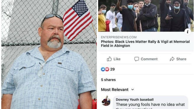 Jim Medeiros (left), who was president of Downey Youth Baseball for 17 years, resigned on Monday, June 29, 2020, after backlash to an online comment he made using the league's Facebook page to criticize local youth at a Black Lives Matter rally.