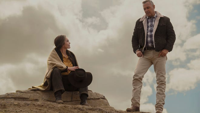 """In this image released by Focus Features, Diane Lane, left, and Kevin Costner appear in a scene from """"Let Him Go."""""""
