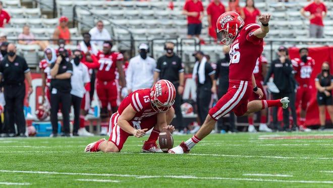 Kicker Nate Snyder kicks the winning 53-yard field goal as the Louisiana Ragin' Cajuns edged Georgia Southern 20-18 at Cajun Field on Saturday in Lafayette, Louisiana.