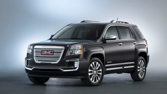 """New York debut: The 2016 GMC Terrain Denali will be seen by visitors to the New York auto show today. A new, more distinguished grille is part of the package. """"Terrain is a popular choice in the growing compact SUV segment,"""" said Duncan Aldred, a GMC marketing vice president."""