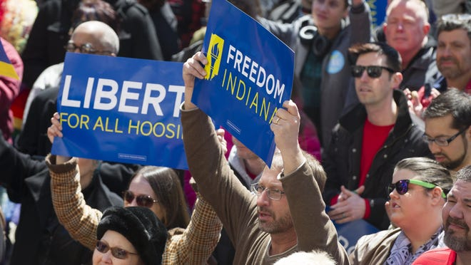 Thousands of people gathered in Indianapolis over the weekend to protest the passing Thursday of the Religious Freedom Restoration Act.