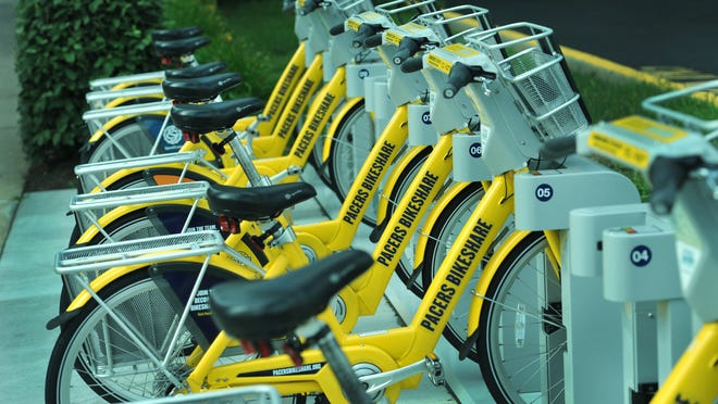 Pacers Bikeshare bikes are parked at Alabama and North streets on June 30, 2014.