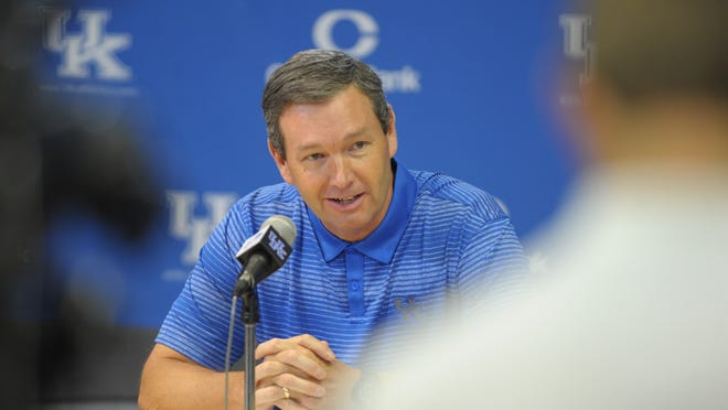 UK Athletics Director, Mitch Barnhart, speaks during the University of Kentucky football media day at the UK Nutter Training Center in Lexington, KY. Friday, August 8, 2014.