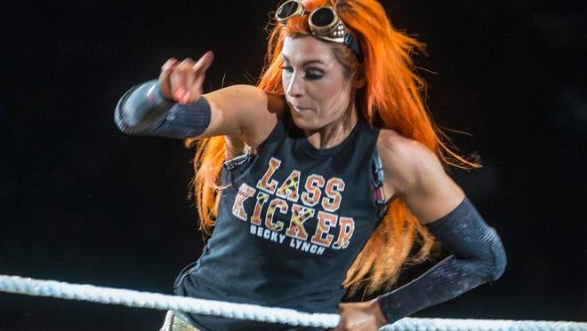 Becky Lynch at a WWE show at Garrett Coliseum on Jan. 9, 2016.