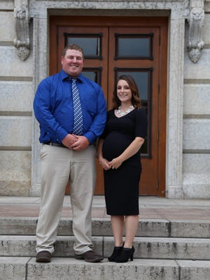 Young Cattlemen's Conference participants learned about current issues in the beef industry at the Ohio State House. From left,  Alex and Brandie Finney of Crawford County.