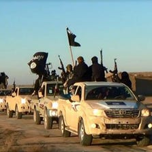 A convoy of Islamic State fighters is seen in Iraq's Anbar Province in January.