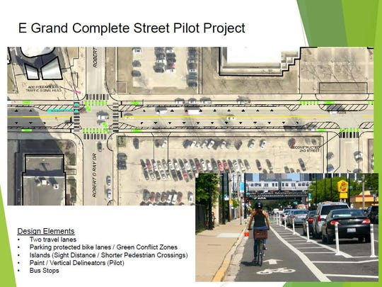 "Des Moines plans to transform a portion of East Grand Avenue from the Des Moines River to Pennsylvania Avenue into a ""complete street,"" building roads to accommodate bikes, pedestrians and public transit in addition to vehicles. Green indicates a bicycle lane and the dashed sections are proposed barriers between cars and bikes. A small black ""T"" indicates a car parking space."