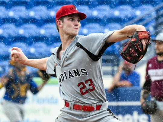 North All-Star team's David Luethje of Vero Beach pitches Thursday, May 31, 2018, during the 11th annual Mike Picano Treasure Coast Senior All-Star baseball game at First Data Field in Port St. Lucie. The game was cancelled after two innings due to weather.