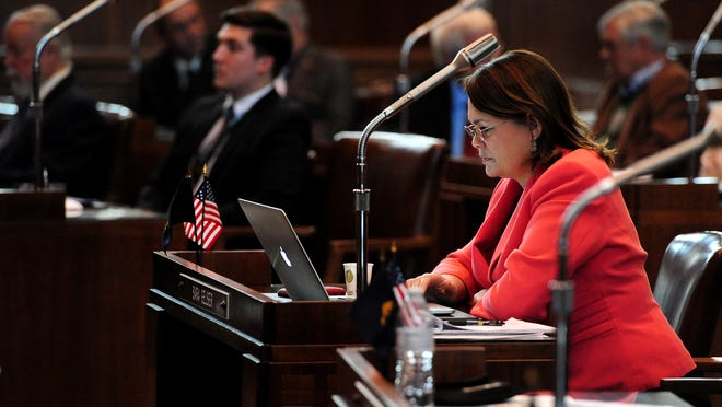 Sen. Sara Gelser, D-Corvallis, during the opening day of the Oregon legislative session Feb. 2, 2015, at the Capitol.