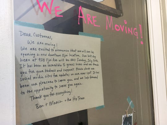 "A ""we are moving"" note greets would-be diners at Hip Vegan Cafe in Ojai. The restaurant's new location is expected to open late this year."