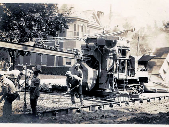 Paving US 30 (the Lincoln Highway) in 1920 in New Oxford,