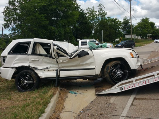 This Jeep was involved in a three-vehicle crash Tuesday