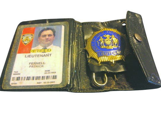 FILE PHOTO The police shield of retired NYPD Lt. Patrick