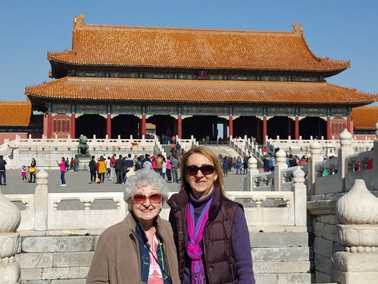 Nancy and Pat Waters at the Forbidden City Palace in