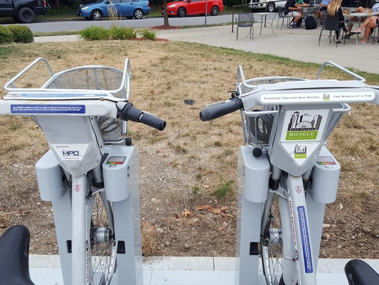 Two shareable bikes at the BCycle station