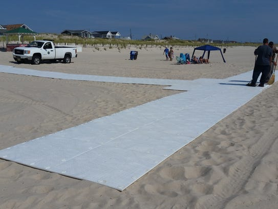 A new beach mat in Seaside Park provides greater access