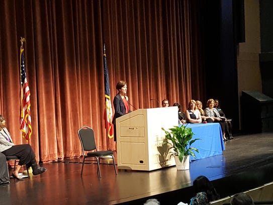 Gov. Kim Reynolds addressed the audience after being
