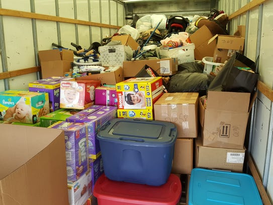 Some of the items taken to hurricane victims.