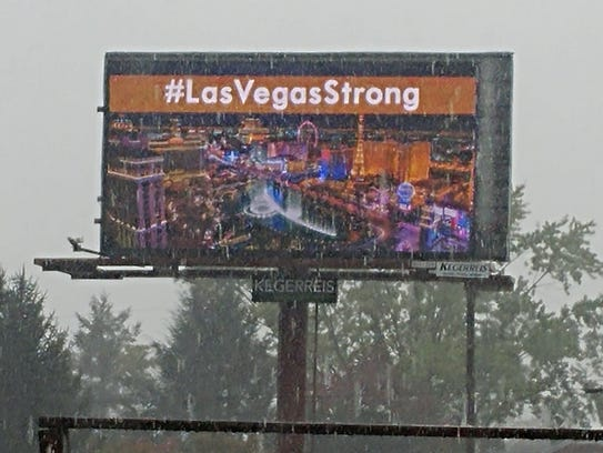The hashtag #LasVegasStrong is among the advertisements