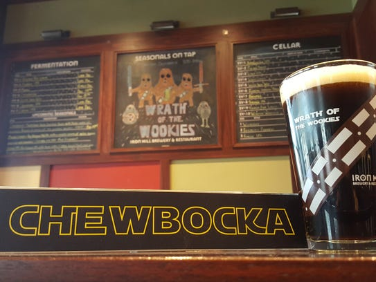 "Iron Hill Brewery's new Chewbocka beer -- a German bock with cocoa and caramel (6.9% ABV) -- will debut in Wilmington at Saturday's ""Dark Side"" party, a timely celebration of dark beers and ""Star Wars""."